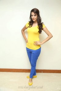 Diksha Panth in Light Yellow Top & Moderate Blue Pant