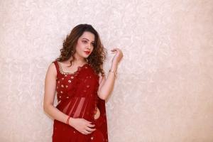 Actress Diksha Panth Red Saree Photos @ Operation 2019 Press Meet