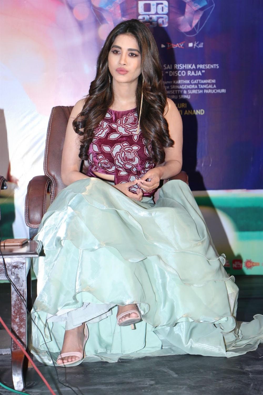Telugu Actress Nabha Natesh @ Disco Raja Movie Press Meet Stills