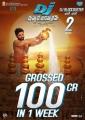 Allu Arjun's DJ Duvvada Jagannadham Movie Crossed 100cr in 1 week Posters