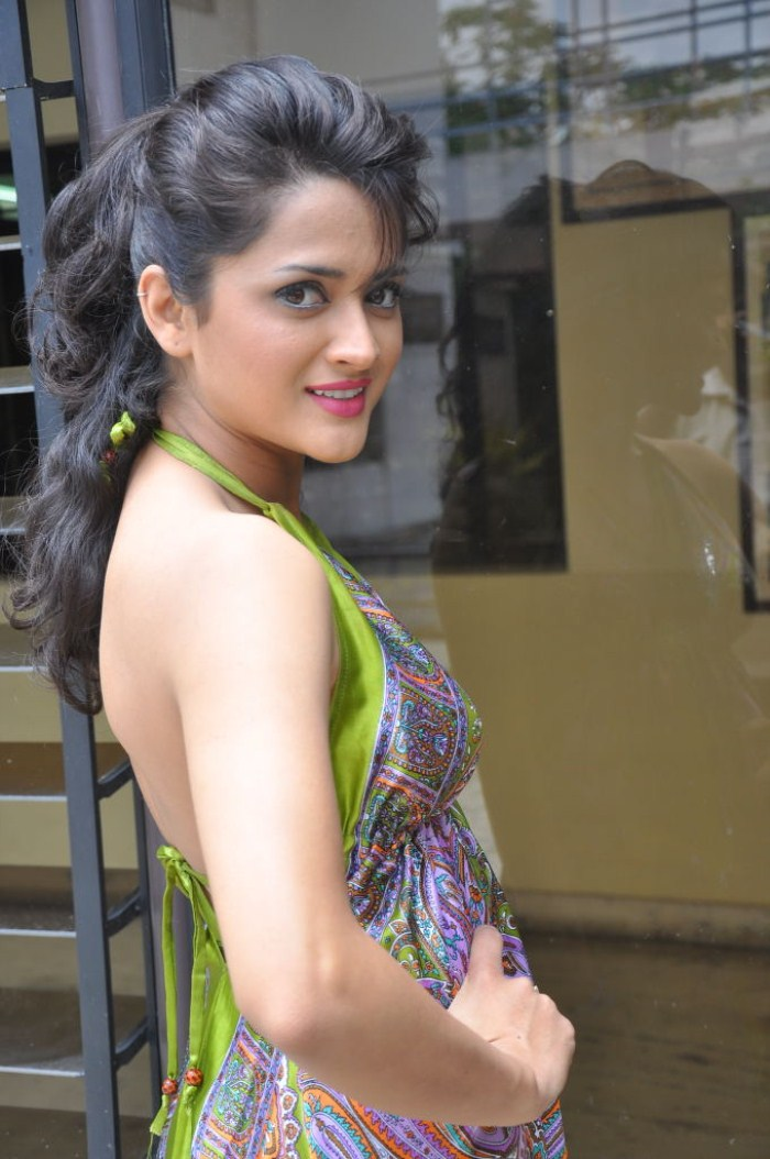 Actress Faith Hot Pics in Green Sleeveless Frock