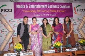 Kamal, Gauthami, Nadhiya, Suhasini, Lissy at FICCI 2012 Closing Ceremony Press Meet Photos