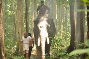 Thambi Ramaiah, Vikram Prabhu in Gajaraju Telugu Movie Stills