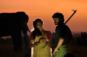 Lakshmi Menon, Vikram Prabhu in Gajaraju Movie Stills