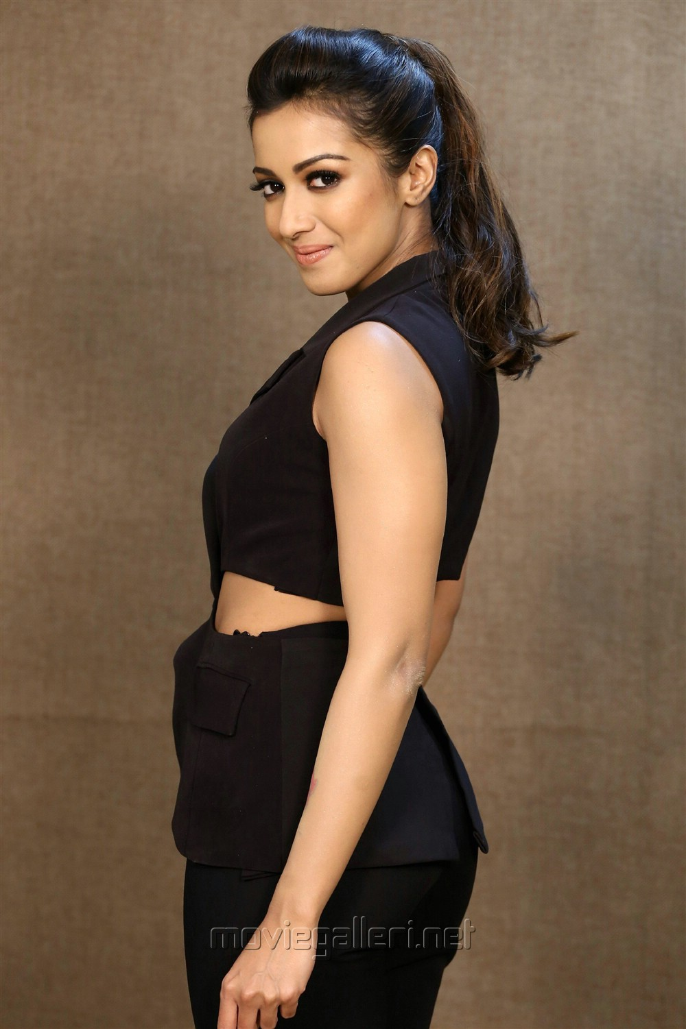 Actress Catherine Tresa in Black Dress Photos @ Goutham Nanda Interview
