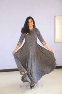 Actress Gayathrie Shankar Images in Grey Floral Long Dress