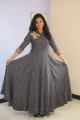 Actress Gayathrie Shankar Images in Grey Floral Long Dress