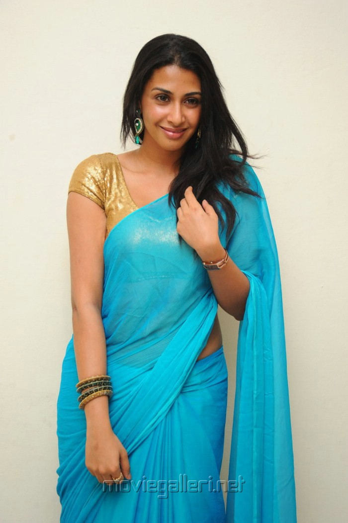 Gayatri Iyer Hot in Blue Saree Photo Shoot Stills