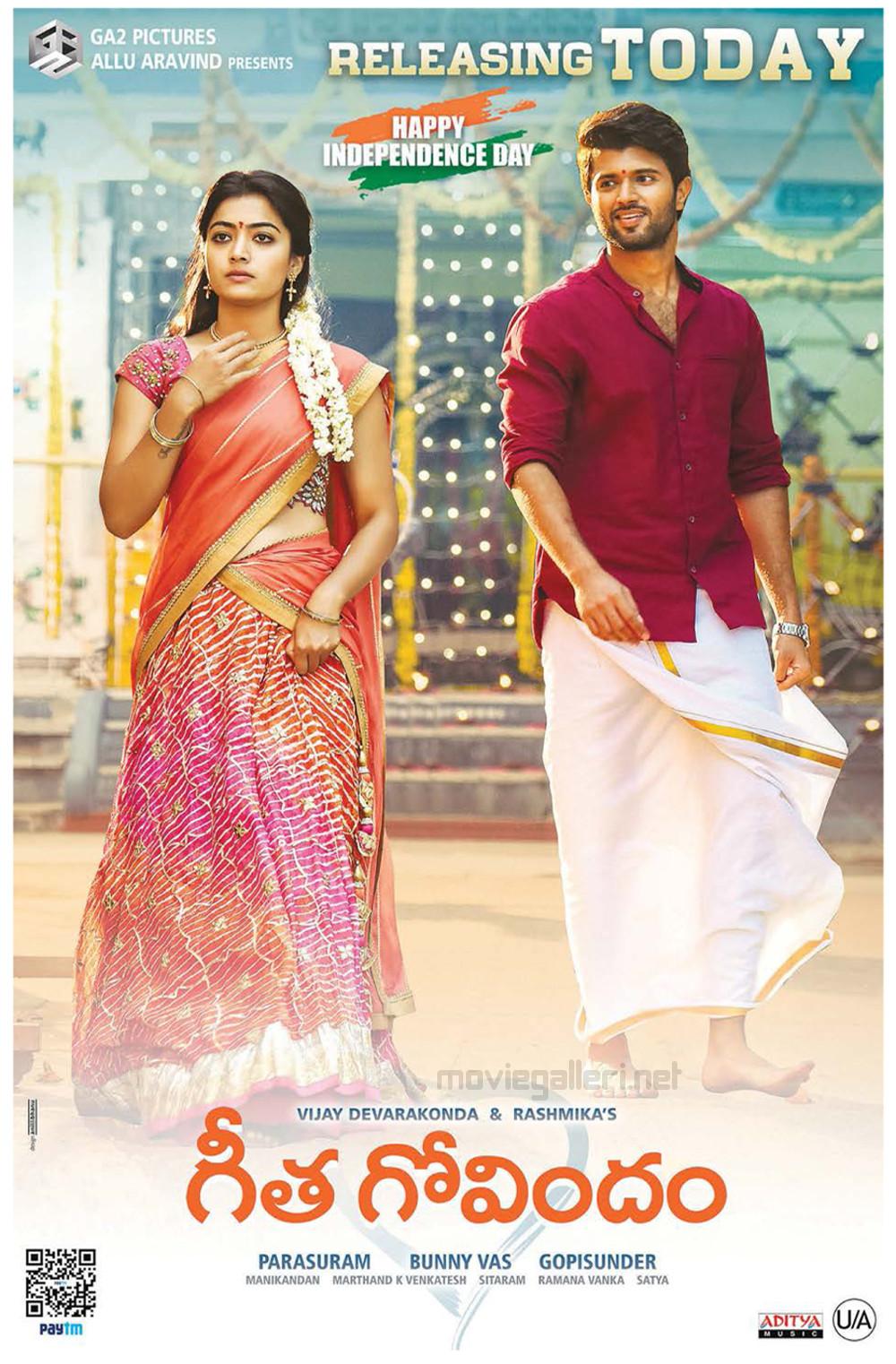 Rashmika Vijay Devarakonda Geetha Govindam Movie Release Today Posters