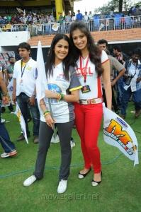 Actress Genelia with Lakshmi Rai at CCL Match