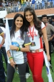 Actress Genelia with Lakshmi Rai at CCL Match