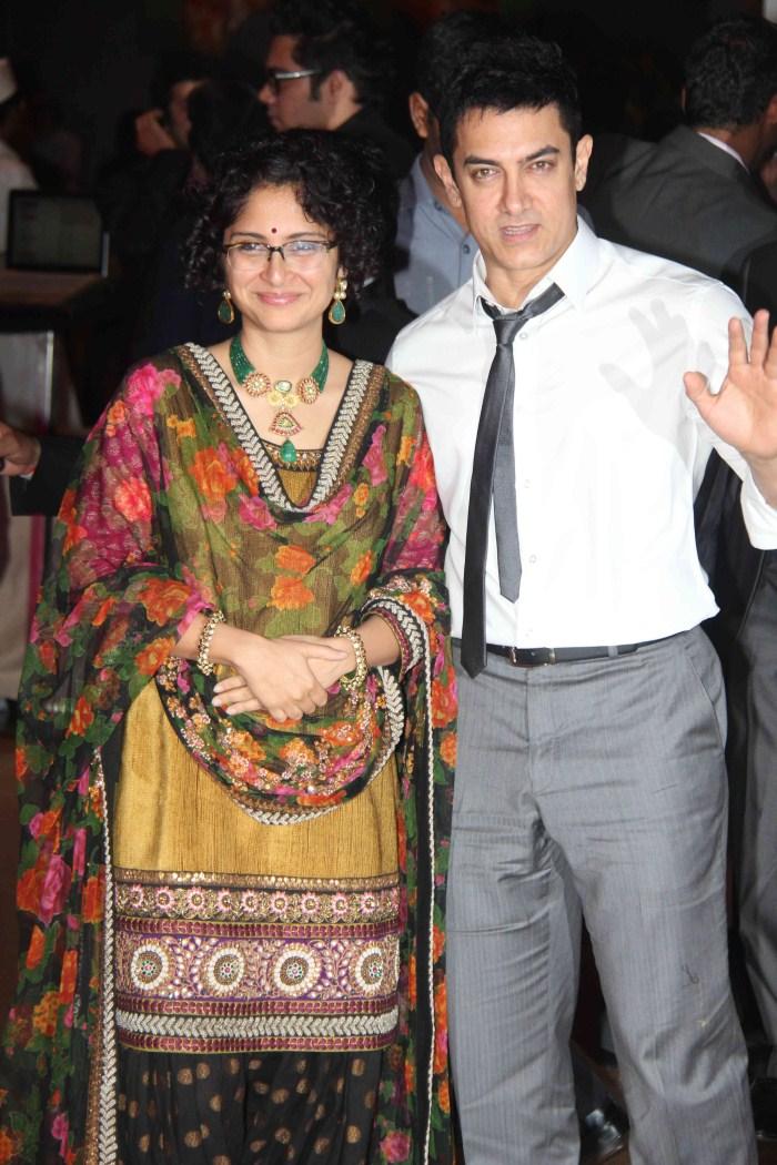 Aamir Khan With Wife Kiran Rao Genelia Wedding Reception Stills