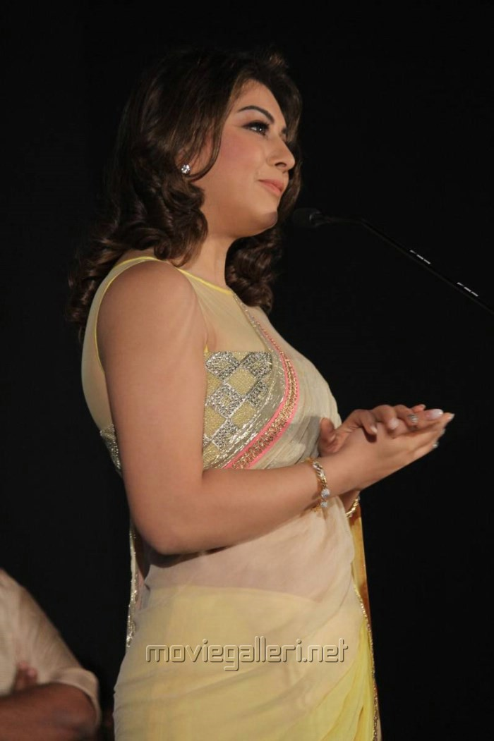 Actress Hansika Saree Photos @ Aambala Audio Launch