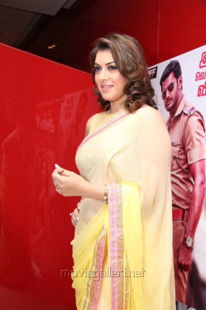 Actress Hansika Motwani Saree Photos @ Aambala Audio Release