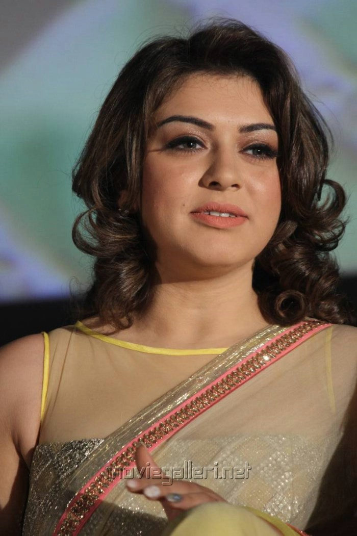 Actress Hansika New Saree Photos @ Aambala Audio Launch