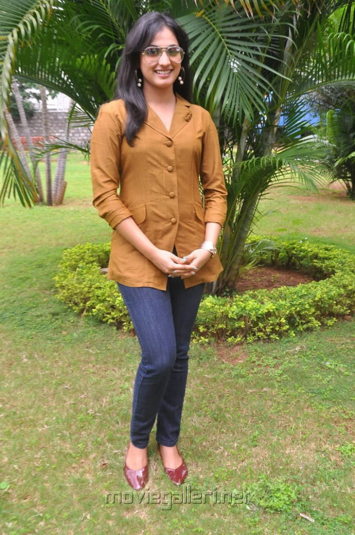 Haripriya New Photos in Light Brown Suit & Blue Jeans