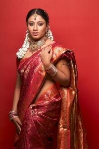 Tamil Actress Hashini in Silk Saree Photoshoot Stills