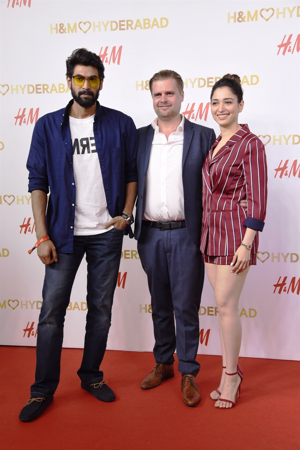 Rana & Tamannaah with Janne Einola, Country Manager at H&M India @ H&M Hyderabad Grand Opening at Inorbit Mall