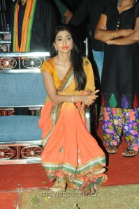 Shriya Saran Dual Color Saree Images @ Pavithra Audio Launch