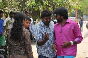 Nanditha, Gokul, Vijay Sethupathi @ Idharkuthane Aasaipattai Balakumara Shooting Spot Photos