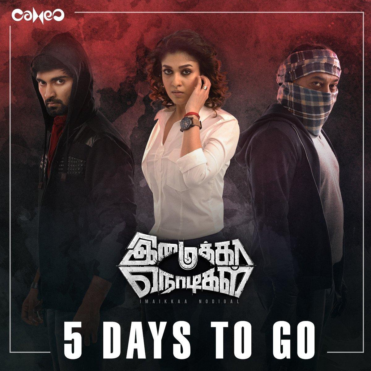 Atharva, Nayanthara, Anurag in Imaikka Nodigal Movie Release Posters