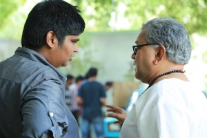 Karthik Subbaraj, Radha Ravi @ Iraivi Movie Working Stills
