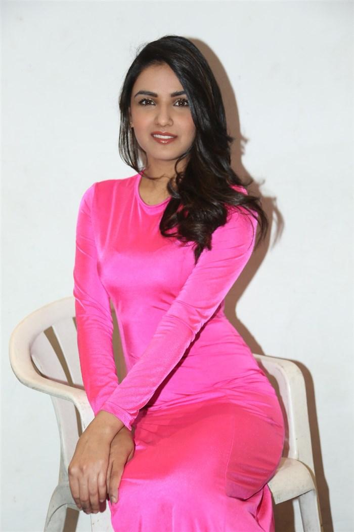 Actress Jasmin Bhasin Hot Pictures in Pink Dress
