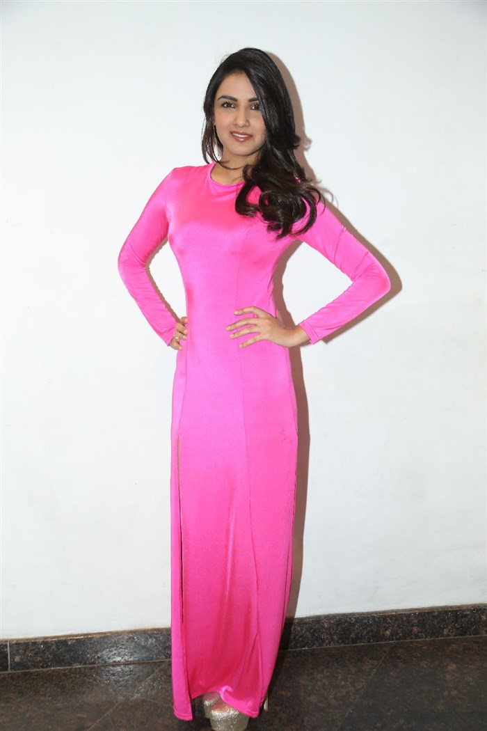 Actress Jasmin Bhasin Hot Pictures in Pink Dress