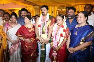 P. Vasu, wife Shanthi, Prabhu, wife Punitha @ Jayachitra Son Amresh Keerthi Hanusha Marriage Stills