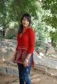 Telugu Actress Jiya Photos in Red Top and Blue Jeans