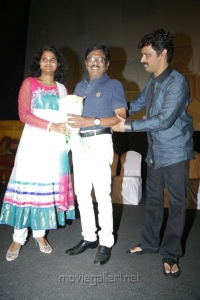 Damini, Bharathiraja, Cheran @ JK Enum Nanbanin Vaazhkai Audio Launch Stills