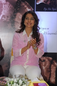 Actress Juhi Chawla unveiling Puja Yagnik's book 'The Curse of the Winswoods'