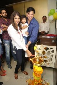Lakshmi Manchu daughter Vidya Nirvanah, husband Andy Srinivasan @ Junior Kuppanna Restaurant Launch Raidurgam Photos