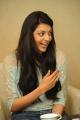Actress Kajal Agarwal Cute Smile Photos at Sarocharu Movie Interview
