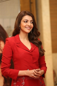 Actress Kajal Agarwal in Red Suit Photos @ Kavacham Teaser Launch