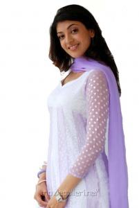 Actress Kajal in White Churidar Beautiful Stills