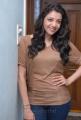 Actress Kajal Latest Photoshoot Pics in Light Brown T Shirt