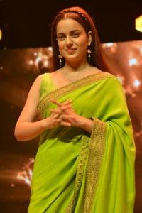 Thalaivi Movie Heroine Kangana Ranaut in Green Saree Pictures