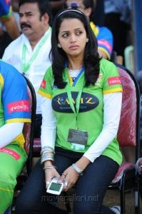 Bhavana @ Karnataka Bulldozers Vs Kerala Strikers CCL Match Stills