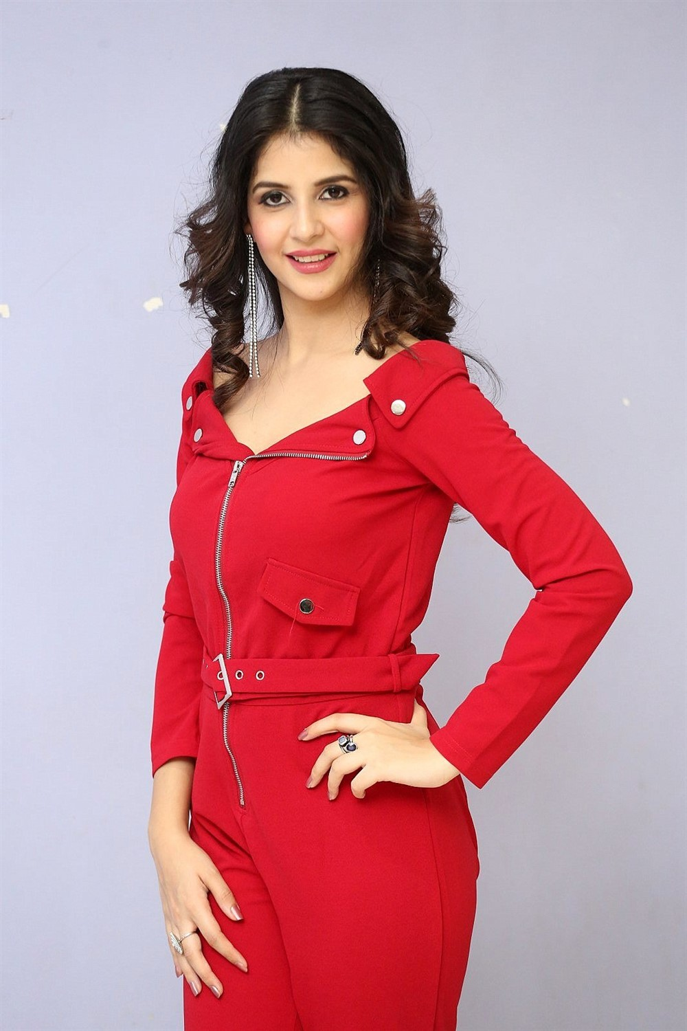 1st Rank Raju Actress Kashish Vohra Red Dress Images