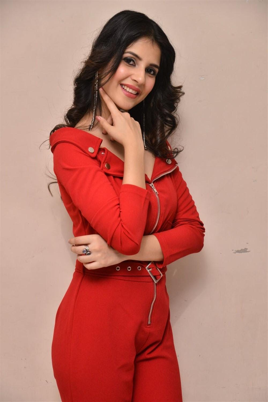 1st Rank Raju Actress Kashish Vohra Red Dress Images