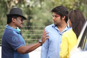 R.Parthiban, Arya @ Kathai Thiraikathai Vasanam Iyakkam Movie Working Stills