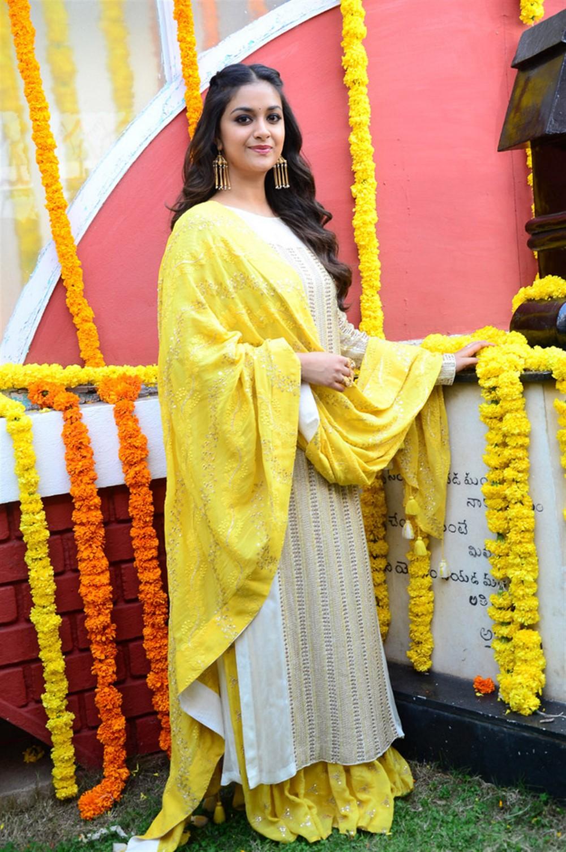 Actress Keerthi Suresh @ East Coast Productions No 3 Movie Opening Stills