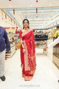 Actress Keerthi Suresh Red Saree Photos @ Mancherial CMR Shopping Mall Opening