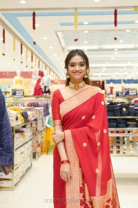 Actress Keerthy Suresh Red Saree Photos @ CMR Shopping Mall Launch in Mancherial
