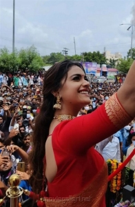 Actress Keerthy Suresh Red Saree Photos @ Mancherial CMR Shopping Mall Opening