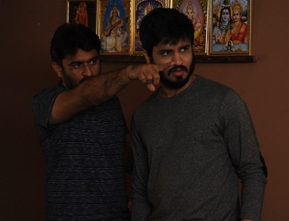 Sudheer Varma, Nikhil @ Keshava Movie Working Stills