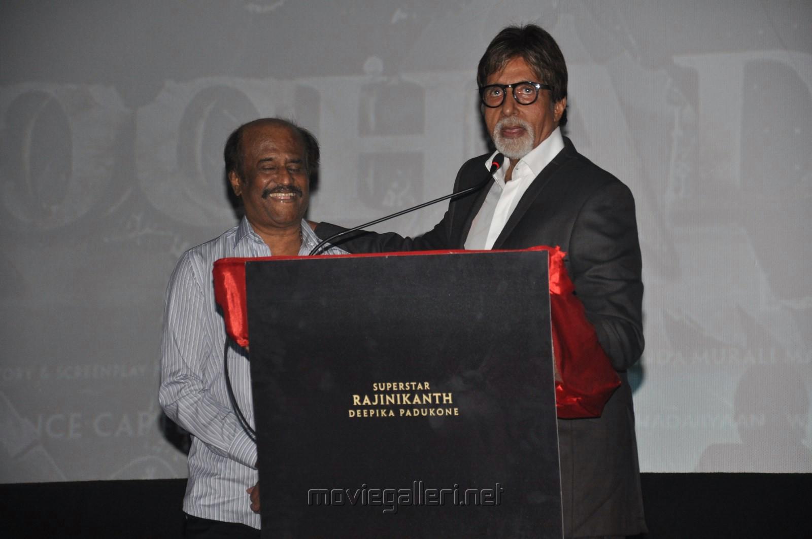 Rajinikanth, Amitabh Bachchan @ Kochadaiiyaan Hindi Trailer Launch Stills
