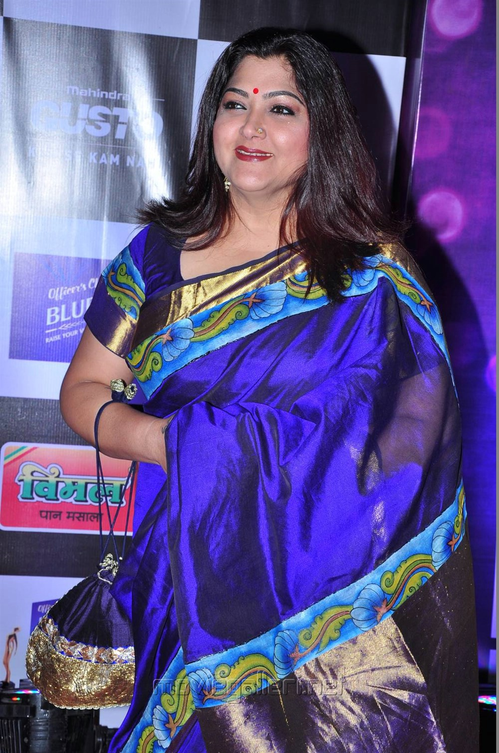 Kushboo Tamil Hot Awesome picture 911158   tamil actress kushboo in dark blue silk saree