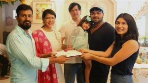 Manoj's wife Pranathi @ Lakshmi Manchu - Manchu Entertainments Prod. No. 4 Movie Pooja Stills